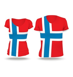 Flag shirt design of norway vector