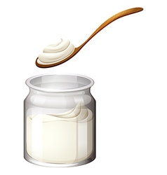 Yoghurt or cream on white vector image
