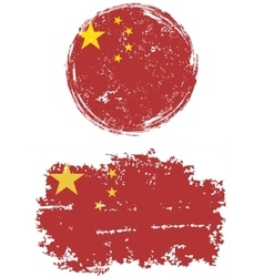 Chinese round and square grunge flags vector