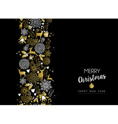 Merry christmas happy new year gold pattern retro vector