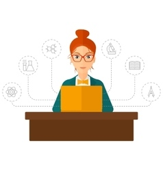 Woman studying with laptop vector