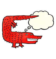 Cartoon crocodile with thought bubble vector