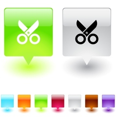 scissors square button vector image