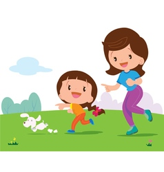 Cute girl and mom jogging vector