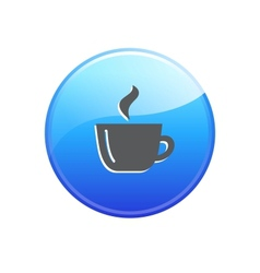 Glossy coffee button vector