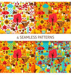 autumn season seamless patterns vector image