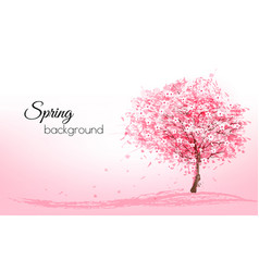 beautiful background with a pink blooming sakura vector image vector image