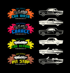car service emblems and design elements vector image vector image