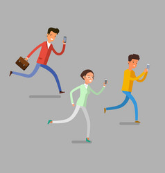 Cartoon people with mobile phones vector