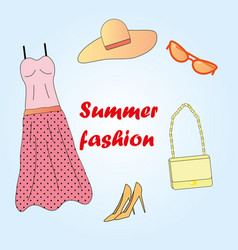 clothes set summer fashion vector image vector image