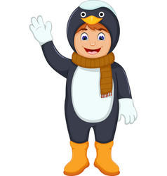 cute boy cartoon with penguin costume vector image vector image