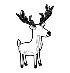Deer cartoon with long horns in black silhouette vector