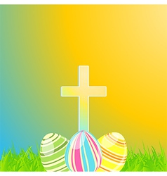 Easter eggs and cross vector