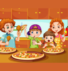 family having pizza in kitchen vector image