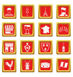 France travel icons set red vector