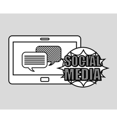 Hand drawing bubble speech social media mobile vector