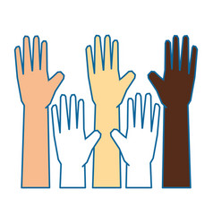 Isolate multiculturalism hands vector