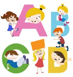 kids with letters vector image vector image