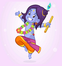 Little cartoon krishna dance vector