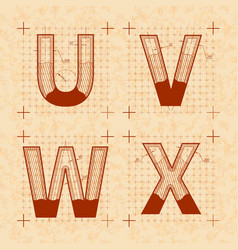 Medieval inventor sketches of u v w x letters vector