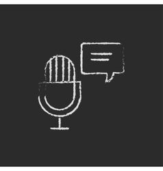 Microphone with speech bubble icon drawn in chalk vector