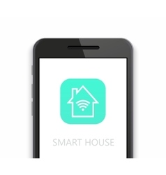 Modern smart house icon with smartphone on vector