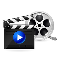 Movie clapboard and reel of film vector