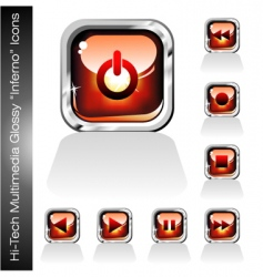 multimedia player icons set vector image vector image