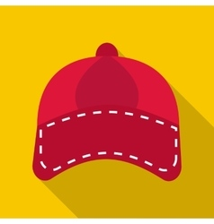 Red cap icon flat style vector