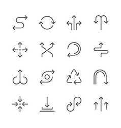 set line icons of arrows vector image