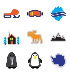 Set of flat web icons on white background Arctic vector image vector image