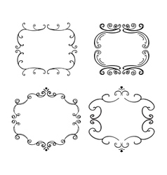Set of freehand vintage frames vector image
