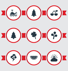 Set of simple natural icons vector