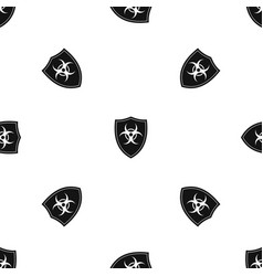 shield with a biohazard sign pattern seamless vector image