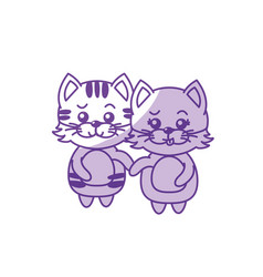 Silhouette cute couple cat wild animal with vector