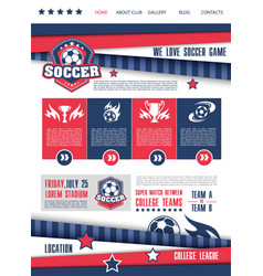 Soccer or football sport club landing page design vector