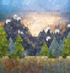 Triangle low poly mountain landscape vector image