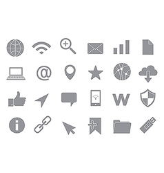 Web connection gray icons set vector