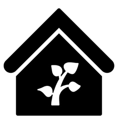 Greenhouse building flat icon vector