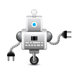 Robot on wheel and with lightbulb isolated on vector