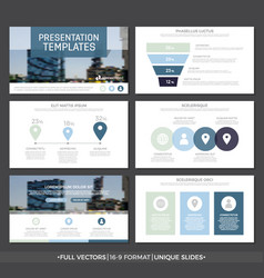 set of blue elements for multipurpose presentation vector image