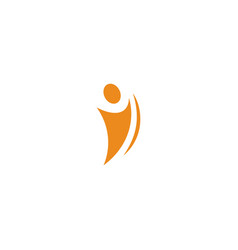 Isolated abstract orange color human body in vector
