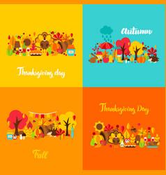 Autumn thanksgiving concept set vector