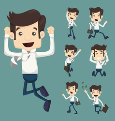 Set of businessman leaping characters poses vector
