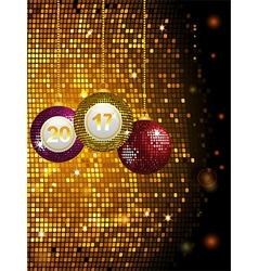 2017 disco baubles over golden tiles vector image