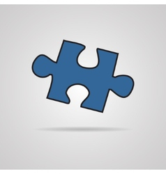 Closeup of jigsaw puzzle piece isolated on grey vector