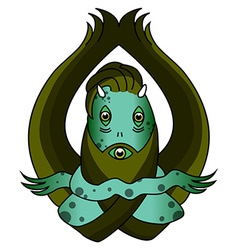 Scary green swamp monster vector