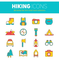 Set of hiking thin lined flat icons vector