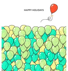 Festive card with balloons departing spheres vector