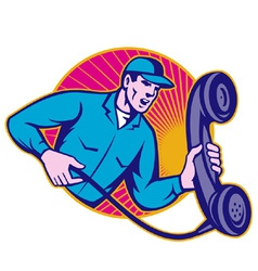 Telephone repairman holding phone vector